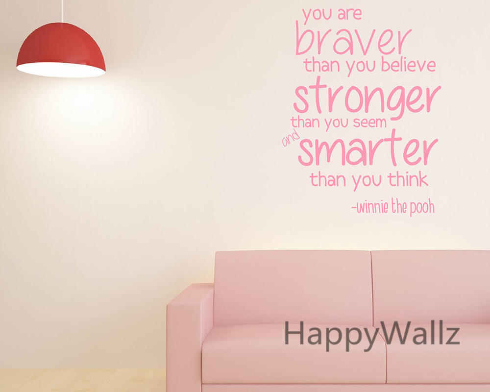 You Are Braver Stronger Smarter Motivational Quote Wall Sticker DIY Decorative Inspirational Quotes Office Wall Decal Q94