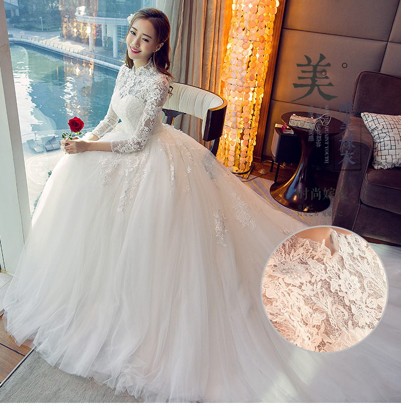High Neck Beautiful Pearls Beading Long Sleeve Muslim Wedding Dress 2019 Custom Made Ivory Ball Gown Bridal Dresses Gown