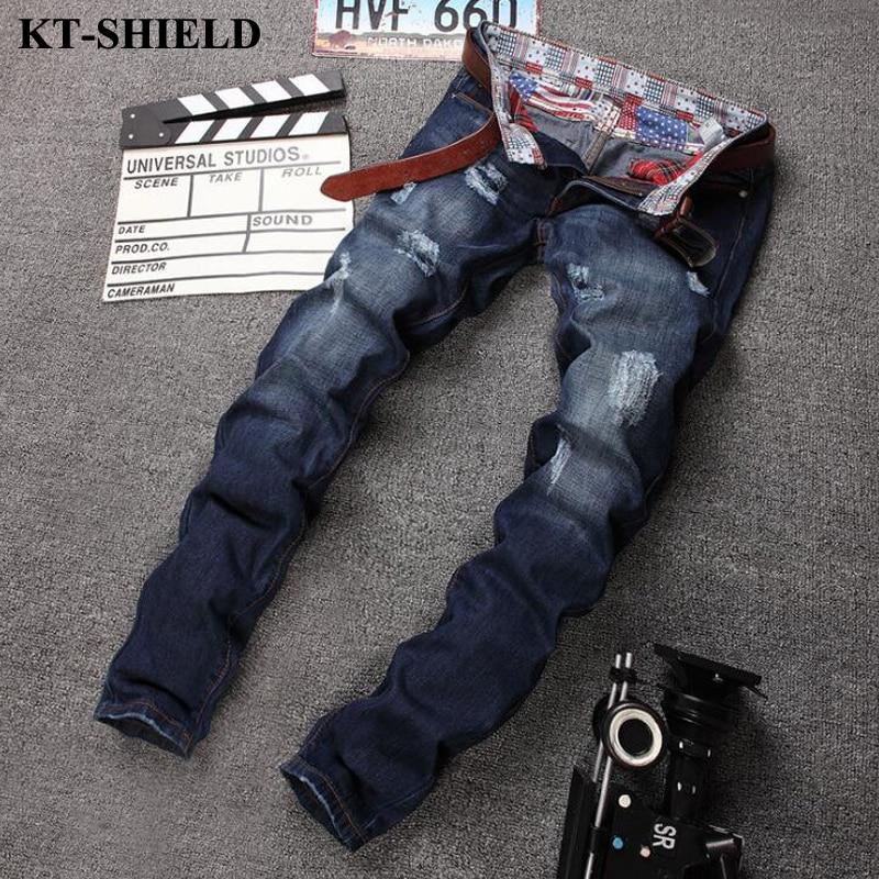2017 Brand Fashion Jeans Men Straight Slim fit Denim Pants ripped biker jeans for man Cotton