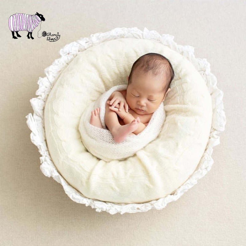 Newborn Baby Photography Handmade White Basket Props Baby Boy Girl Picture Photo Shoot Props Infant bebe fotografia Accessories newborn baby photo props accessories bear hat doll 2pcs sets infant bebe boy girl toy bonnet handmade