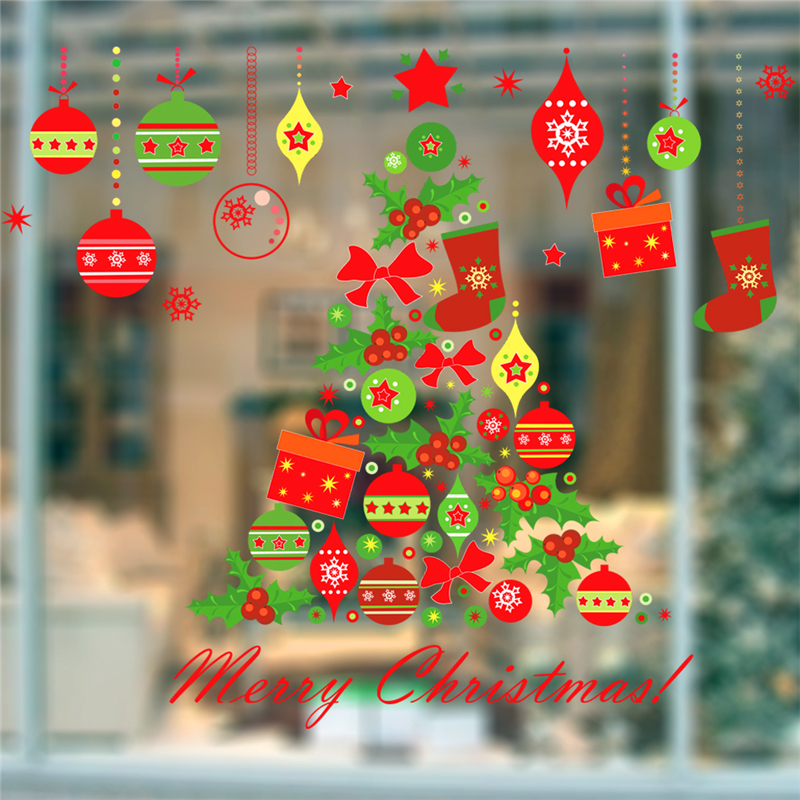 Merry Christmas Tree Bells Wall Stickers Home Decor Stue Store Window - Indretning af hjemmet - Foto 5