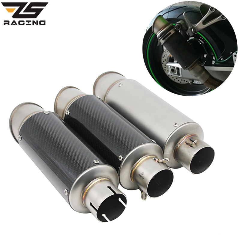 ZS Racing 38 51mm Universal Motorcycle Exhaust Muffler SC Escape Moto Exhaust Fit For Nmax Benelli