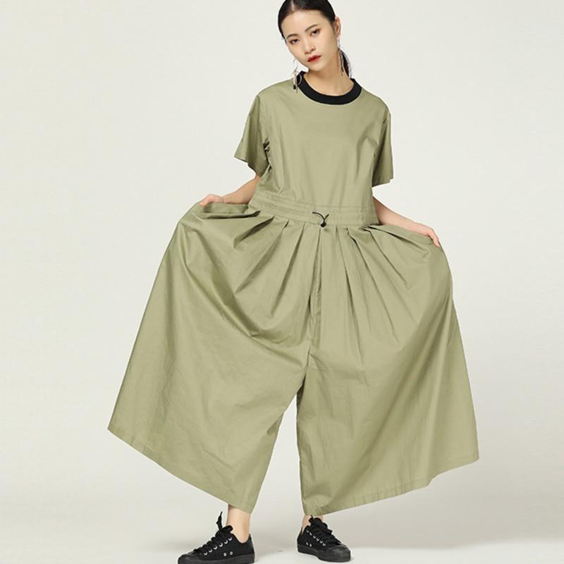 LANMREM 2019 new summer fashion women round neck short sleeves pockets high waist wide legs full length   jumpsuit   WH30206