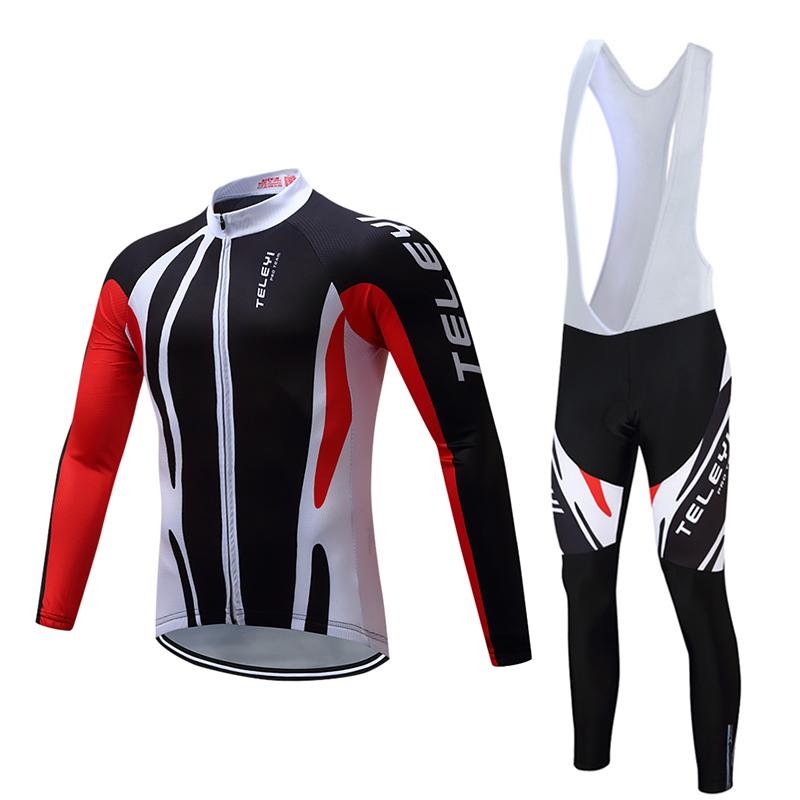 ФОТО 2017 Mens Cycling Suit Spring Autumn Bike Clothing Set MTB Road Bicycle Racing Ropa Ciclismo 5D Gel Pad Cycling Wear Black Red