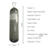 AC103 Hochdruck Zylinder 3L 4500Psi/300Bar CE Paintball Tank Pcp Carbon Faser Luft Flasche Condor Pcp Luftgewehr acecare