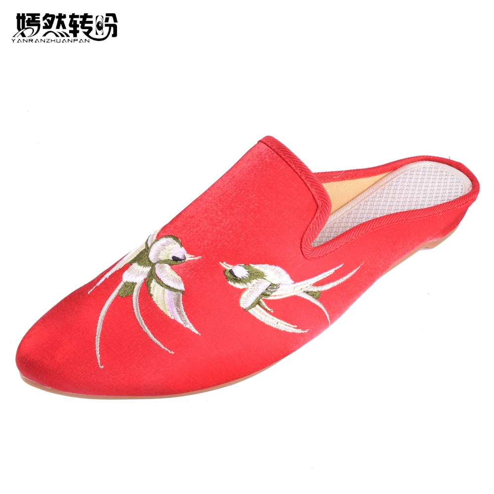Women Slippers Pointed Toe Swallow Embroidered Shoes Faux Suede Sandals Comfort Slip on Summer