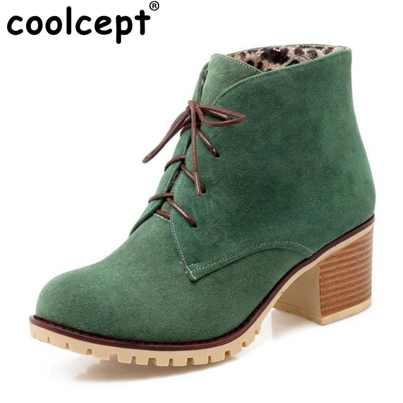 Coolcept Brand Women Lace Up Ankle Boots Woman Round Toe Square Heel Shoes Woman Winter Warm Plush Boot Botas Feminina Size34-43 women warm winter shoes wedges round toe platform lace up mid calf boots fashion square heel botas mujer