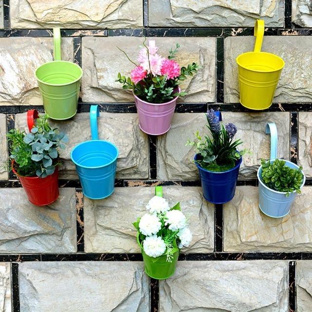 Hanging Portable Flower Pots Garden Balcony Planters Metal Iron Bucket Flower Holders With Detachable Hook Home Decor