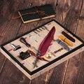 Geschenk Box Vintage Harry Potter Metall Gebogene Natur Türkei Feder Pen-Set mit 5 schreibfedern, stift stand, wachs, Name Dichtung, Quil