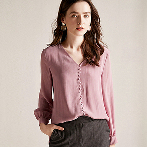 Image 1 - Blusa feminina camisa dupla camada 100% seda design simples decote em v manga longa sólida 2 cores escritório topo nova moda primavera 2019