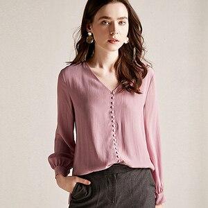 Image 1 - Chemisier femmes chemise Double couche 100% soie Design Simple col en V manches longues solide 2 couleurs bureau Top nouvelle mode printemps 2019