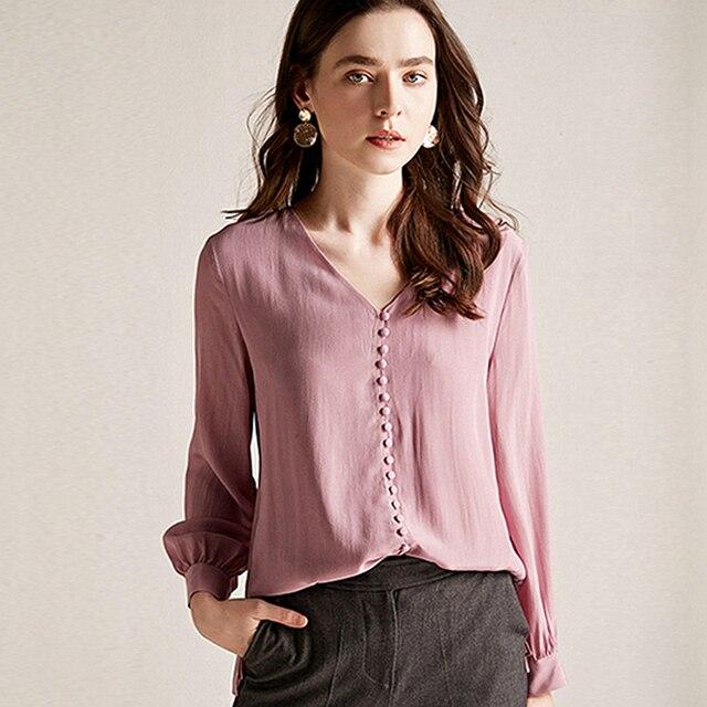 Chemisier femmes chemise Double couche 100% soie Design Simple col en V manches longues solide 2 couleurs bureau Top nouvelle mode printemps 2019