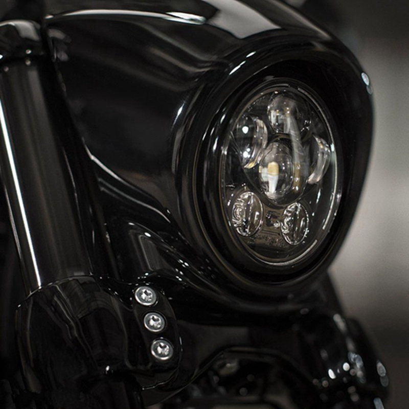 Fit For Sportster, Iron 883, Dyna, Street Bob FXDB 45w 5-3/4 5.75 '' Inch Black Projector LED Headlight Bulbs