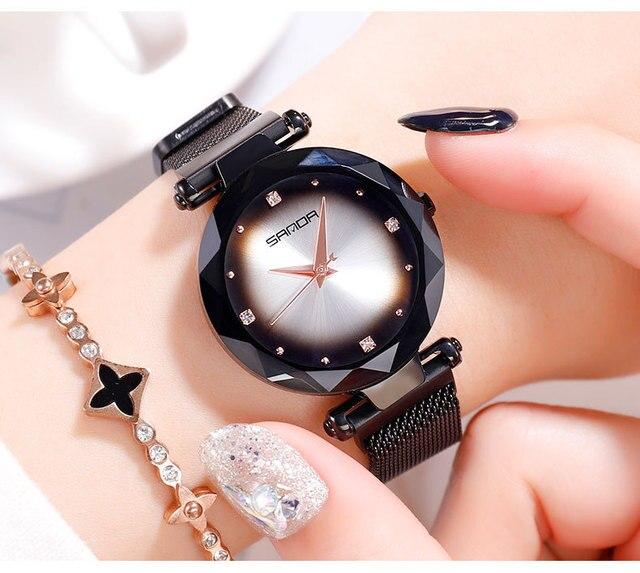 2019 Luxury Rose Gold Women Watches Romantic Starry Sky Ladies Quartz Watch Stainless Steel Women Bracelet Watches Casual Clock