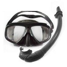 Топ Дайвинг оборудование черный дайвинг комплект сложенный Силикона Дайвинг Трубка низкий объем погружения с маской близорукости линзы трубка маска