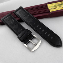 Parnis 23mm black genuine leather WATCH STRAP fit boat mens watch