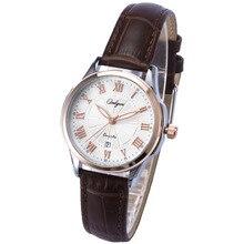 Onlyou Marca Moda Casual Relojes Hombres de Las Mujeres de Cuero Genuino Correa de Reloj caja de Reloj De Acero Inoxidable Reloj de Vestir Señoras Reloj 81057