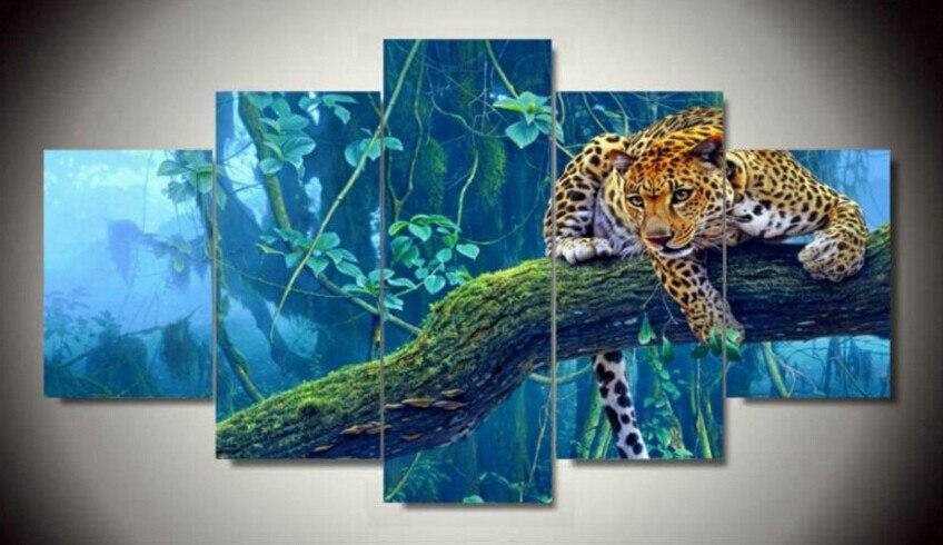 Wall Art Oil Painting Unframed Group Children's Room Decor Print Picture Canvas Leopard Fantasy landscape