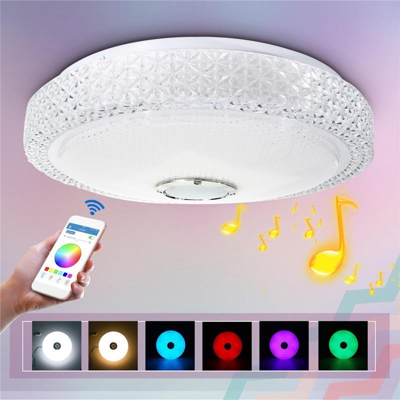 Mising 220 В потолочные современные 48 Вт RGB Smart затемнения Bluetooth музыкальное приложение Remote Управление лампа Спальня потолочный светильник