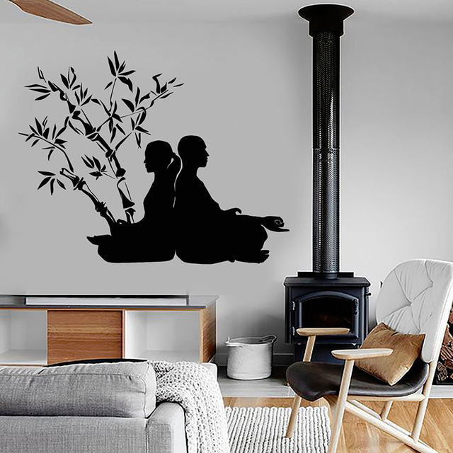 yoga poses wall decals buddhism vinyl wall stickers for yoga studio