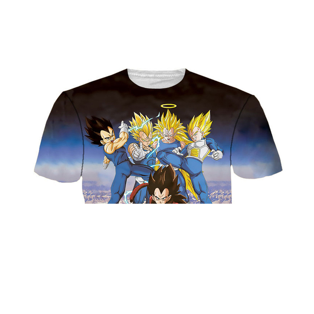 Summer Casual Women/Men Anime tee shirts Dragon Ball Z Super Saiyan 3D t shirt Vegeta Wanted t shirts Hip Hop tshirts,YK UNCLE