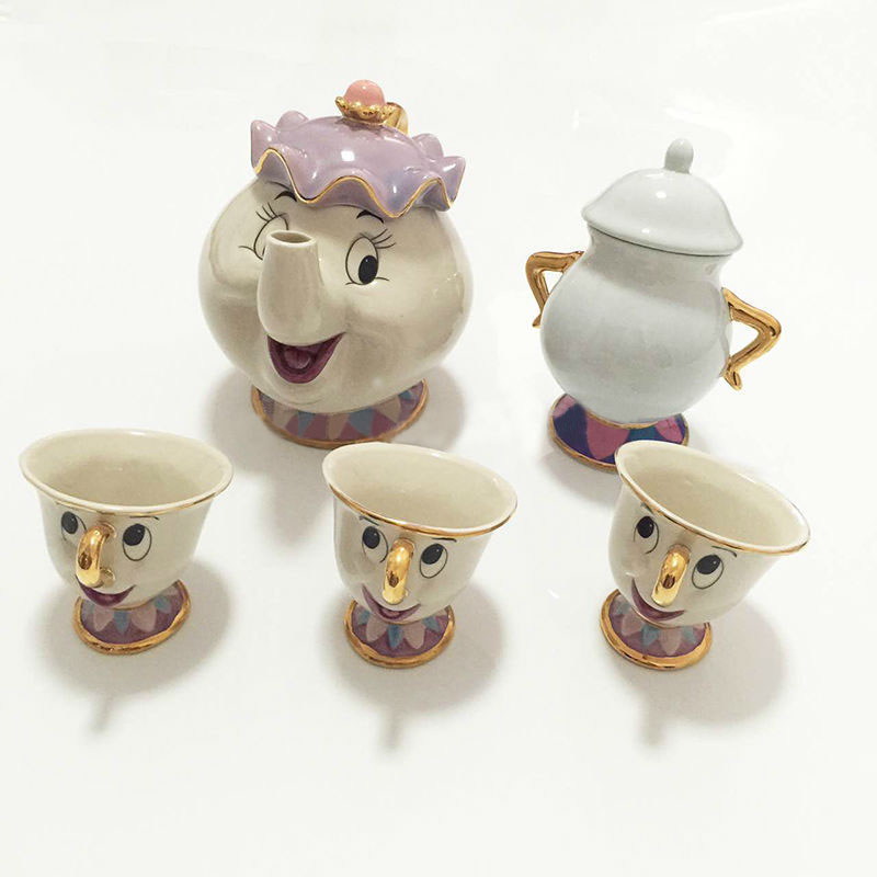 Cartoon Beauty And The Beast Tea Set Mrs Potts Teapot + Chip Cup + Sugar Bowl + Cogsworth Coffee Milk Kettle Xmas Birthday Gift