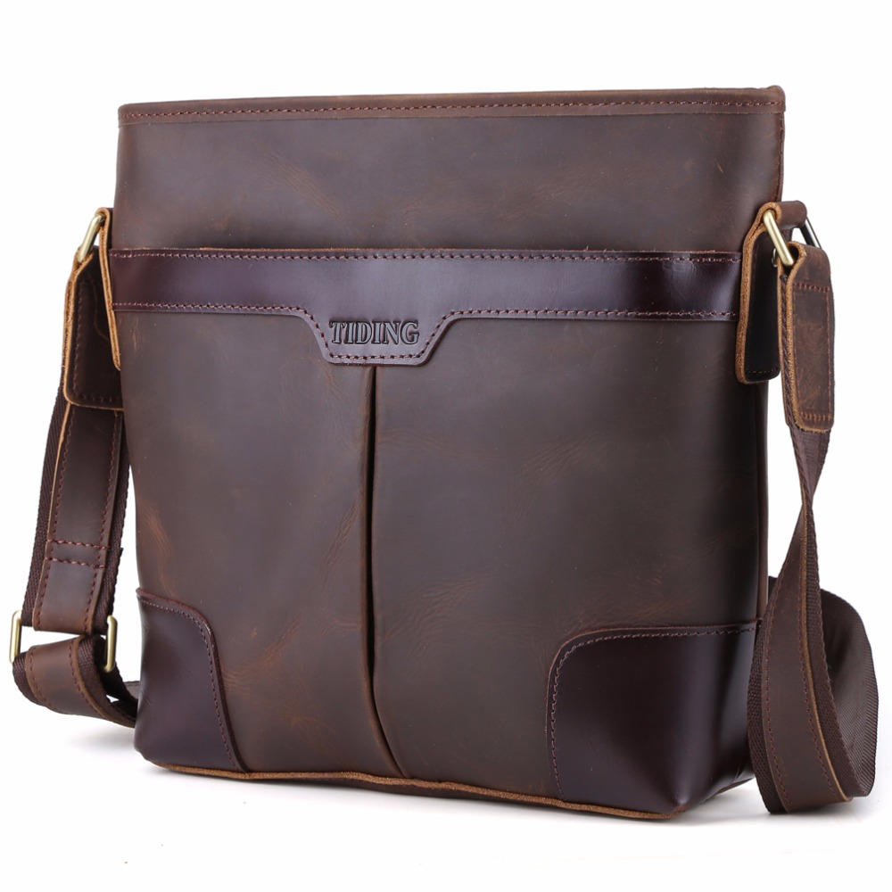 Tiding Genuine Leather Messenger Bag Brand Designer Men Shoulder Bag Vintage Retro Cross body Bags Male 1177 deelfel new brand shoulder bags for men messenger bags male cross body bag casual men commercial briefcase bag designer handbags