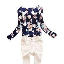 2016 Summer Vintage Women Chiffon Long Sleeve Polka Dot Floral Print Blouse Shirt Plus Size M-4XL Casual Tops