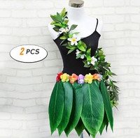 Ti Leaf Hula Skirt Hawaiian Leaf Skirt Green Grass Skirt with Artificial Hibiscus Flowers for Beach,Luau Party Supplies