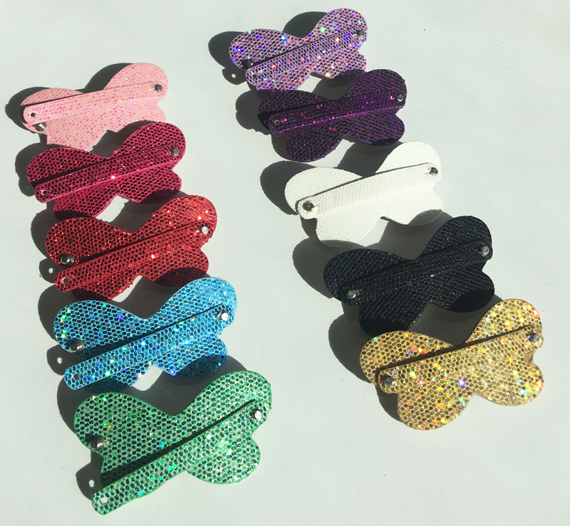 Bow-Tie Hand micro inserted 4x colours NWT gift HAIR CLIPS//HAIR ACCESSORIES