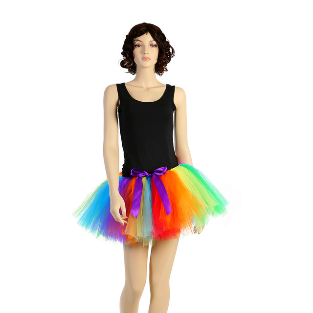 66dc59c274 Rainbow Fluffy Halloween Tutu Skirt for Adult Woman Holiday Birthday Party  Skirts Lady Celebrity Photo Shoot Tulle Skirt Outfits