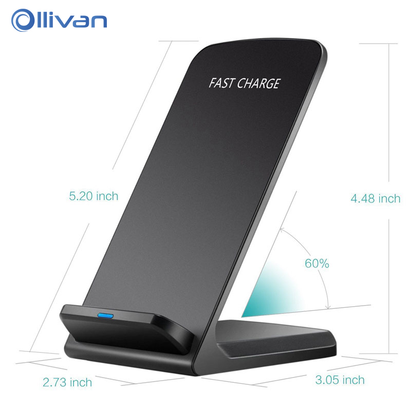 QC 3.0 10W Qi Quick Wireless Charger For iPhone X 8 Fast Wireless Charging Stand Pad For Samsung S8 S7 S6 Edge Note 8 EU/US Plug