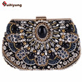 New High-grade Heavy Hand-beaded Evening Bag Women's Gem Diamond Chain Handbag Party Clutch Purse Ladies Shoulder Bag Crossbody