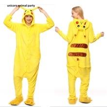 Kigurumi Sleepsuit Adult Cartoon Yellow Pikachu Unisex Animal Children Onesies Costumes Sleepwear Pajamas Cosplay Halloween