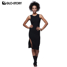 GLO-STORY Womens Black Sexy Club Party Dresses Female 2018 Hem Slit  Sleeveless Backless Bodycon Dress WYQ-6025