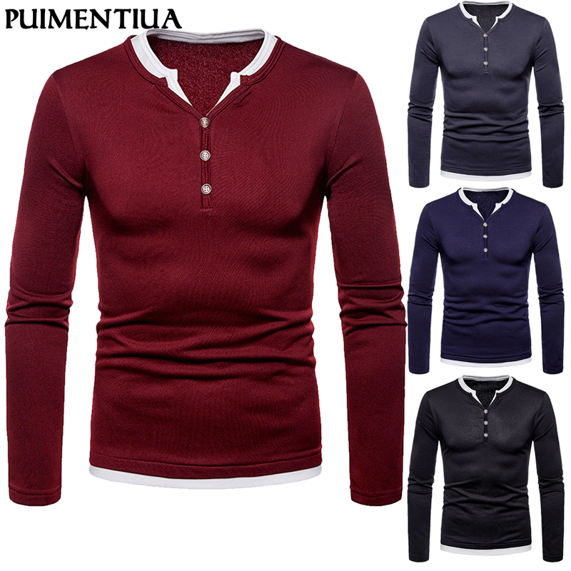 Long Sleeve  Collar Thick Men T-shirt Loose Casual Basic Patchwork Tee For Male Fashion Autumn Winter T-Shirts