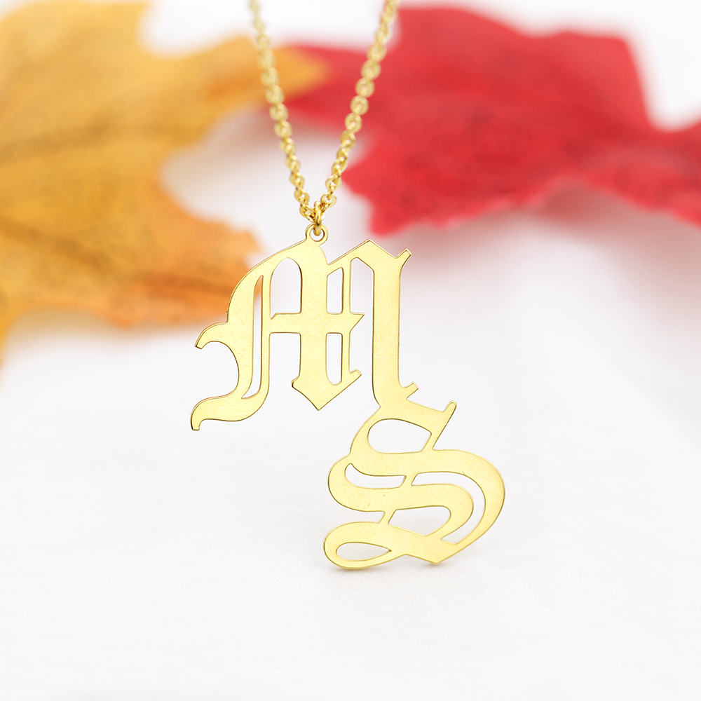 Stainless Steel Custom Old English Initials Choker Necklaces For Women Girl Personalized Double Letters Pendant Necklace Jewelry|Customized Necklaces| - AliExpress