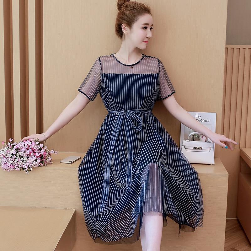 3e474794470 Fashion Plus Size L-5XL Women Fat MM Fairy Summer 2018 New Princess Stripe  A-Line Femme High Waist Short Sleeve Dress MZ2754