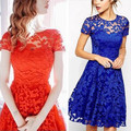 2017 new spring and summer temperament fashion short-sleeved dress sexy lace lace dress large size women's dress Vestidos