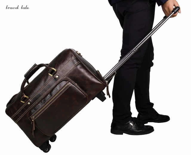 travel tale man travel business  fashionable Genuine Leather Rolling Luggage Spinner brand Travel Suitcase