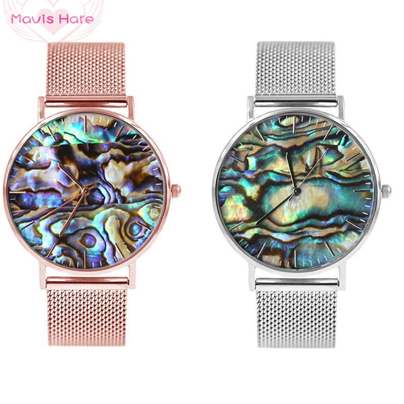 Mavis Hare Ozean Serie Echte Abalone Shell Mesh Uhren Frauen Armbanduhren mit Edelstahl Mesh Armband Bands top qualität