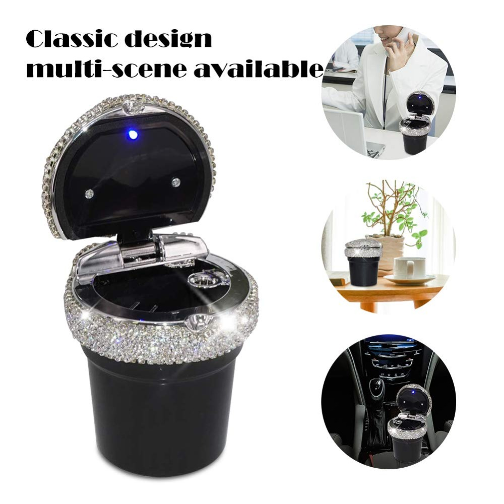 Portable Smokeless Car Ashtray Container Cup Holder LED Indicator Light