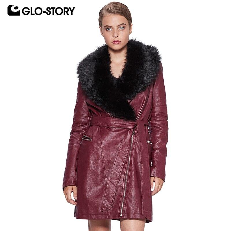 GLO-STORY Long   Leather   Jackets for Women Winter with Fur Collar Zipper Streetwear Female Jackets 2018 WPY-6523