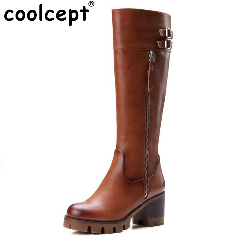 Coolcept Knight Boots Knee High Boots For Women Gladiator Square Med Heels Round Toe Shoes Winter Autumn Shoes Woman Size 32-42 enmayer green vintage knight boots for women new big size round toe flock knee high boots square heel fashion winter motorcycle