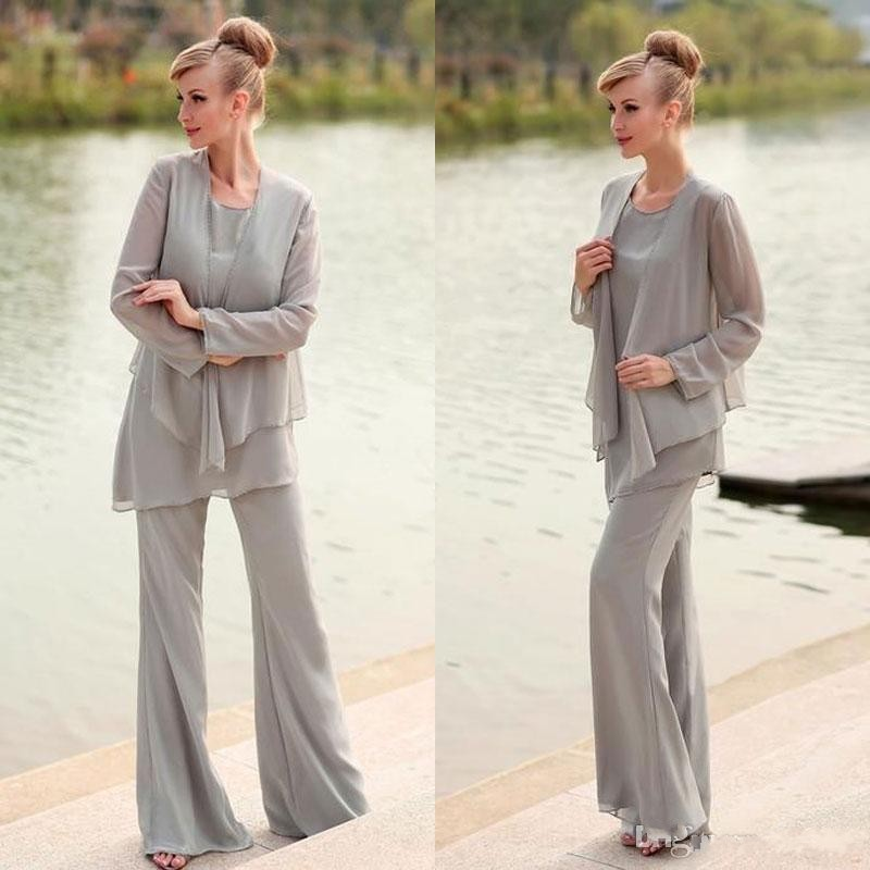 Cheap Gray Mother Of The Bride Pant Suit For Weddings Long
