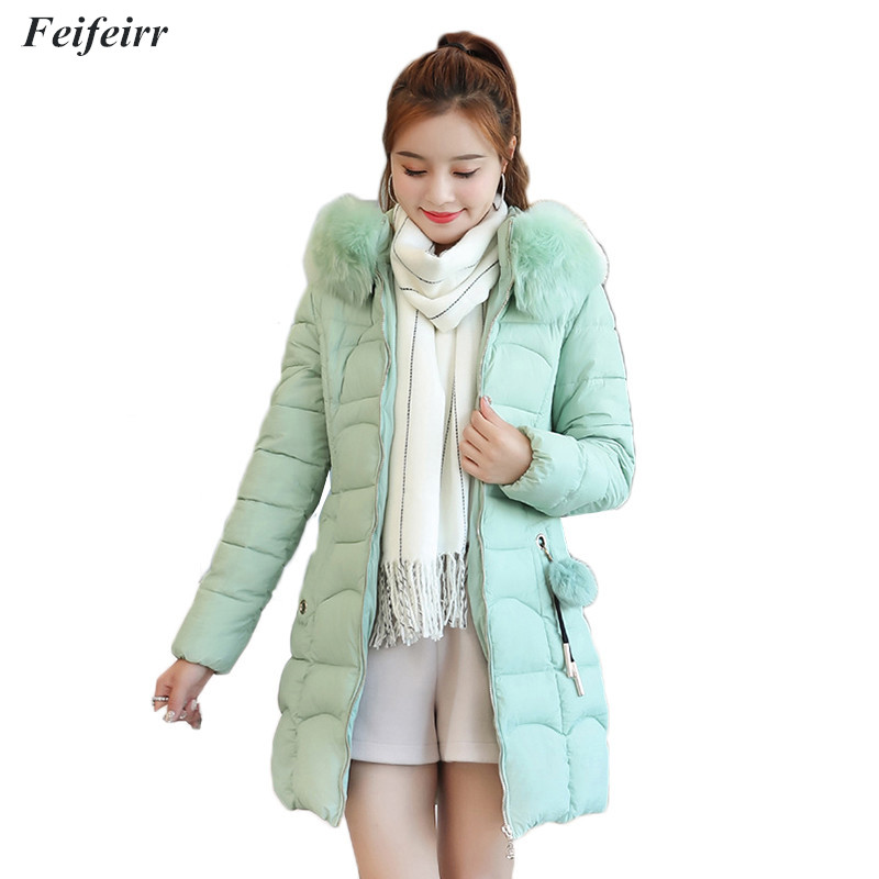 Winter new Casaco Feminino Warm Thicken Slim was thin Cotton Padded Women Jacket Coats Plus Size Fur Collar Long Hooded   Parka