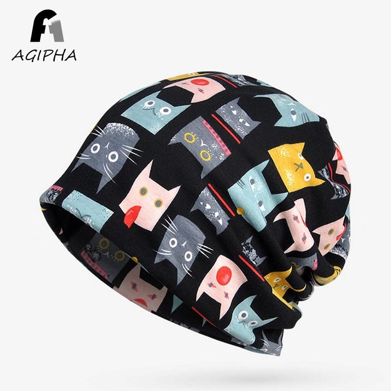 Cute Cat Pattern Women   Beanie   Hats Casual Cotton Soft Warm Cartoon Female   Skullies     Beanies   Caps Scarfs for Ladies 1 Pcs Pack