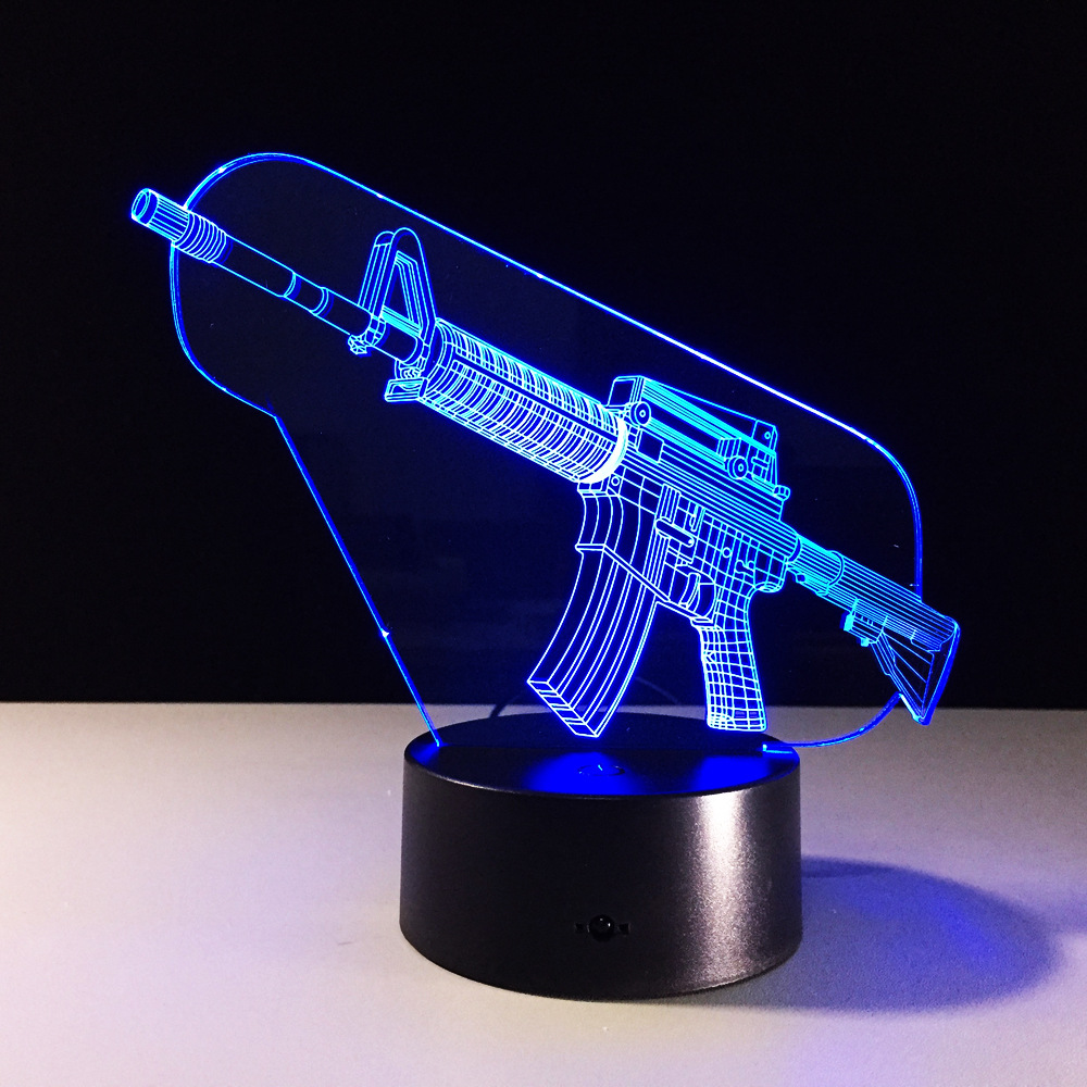 Night lights designs - 1 X Cool 3d Cartoon Machine Gun Design Table Lamp Led Night Lights With Atmosphere Lamp