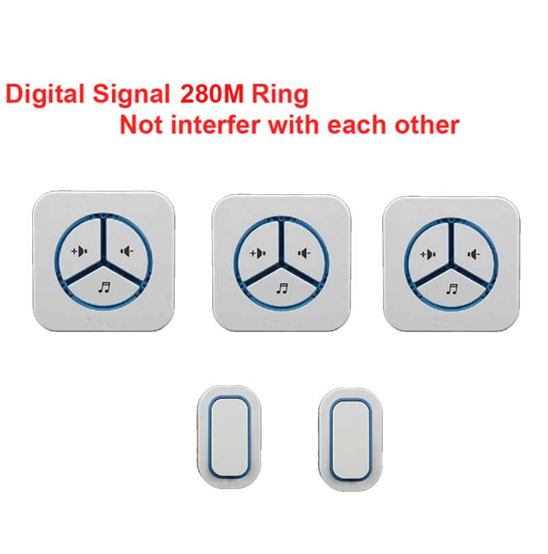 bell sets 2 emitters+3 receivers Waterproof 280m work wireless doorbell,wireless door chime,wireless bell, music ring door bell ks v2 welcom chime bell sensor