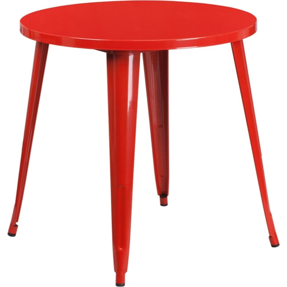 30'' Round Red Metal Indoor-Outdoor Table [CH-51090-29-RED-GG]